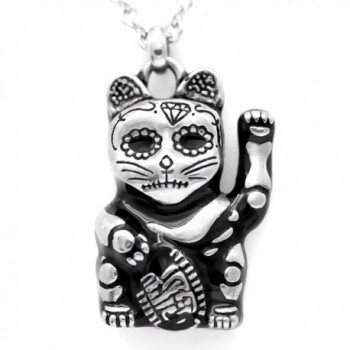 "Controse Silver-Toned Stainless Steel Day of the Dead Maneki-neko Necklace 28"" - C912GK5D0LB"