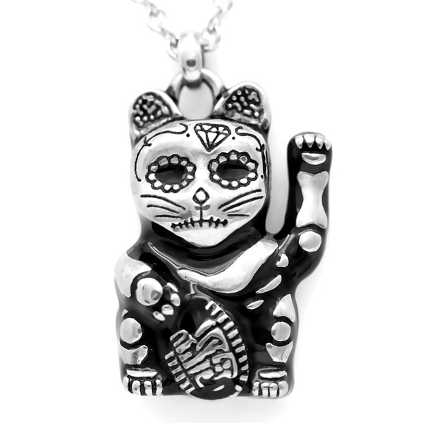 """Controse Silver-Toned Stainless Steel Day of the Dead Maneki-neko Necklace 28"""" - C912GK5D0LB"""