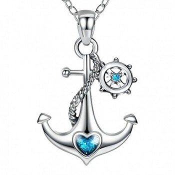 JUFU 925 Sterling Silver Blue Ocean Heart Ship Anchor and Rudder Nautical Necklace - C9184N0285A
