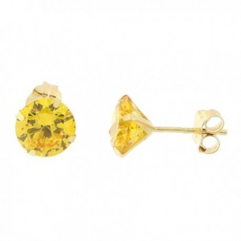 14k Yellow or White Gold Round Simulated Citrine Earrings - CB12N43TMT6