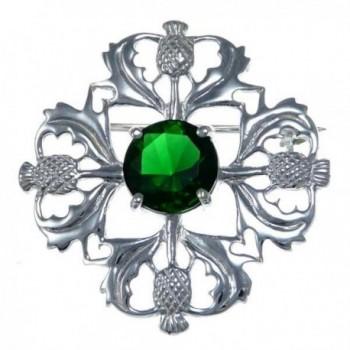 Sterling Silver Green Stone Thistle Brooch - Scottish Pin - C812NBWTLDO