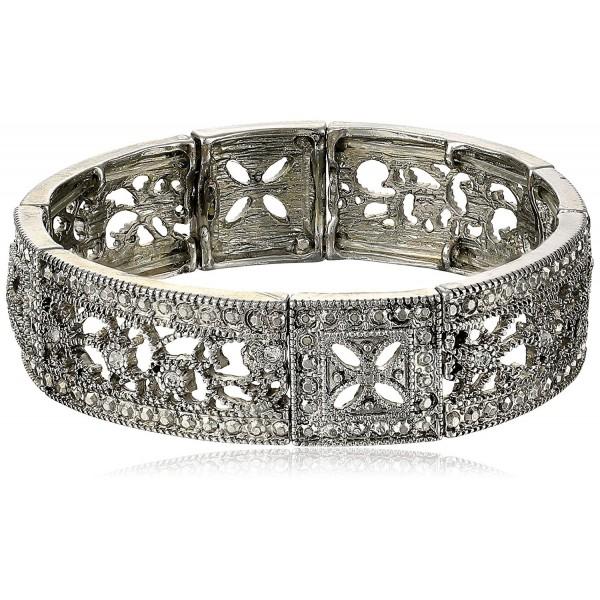 1928 Jewelry Vintage Lace Crystal Filigree Stretch Bracelet - Silver-Tone - C111CKHVQLP