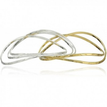 Robert Lee Morris Womens Two-Tone Bangle Bracelet Set - Gold/Silver - CE127N0T2W3