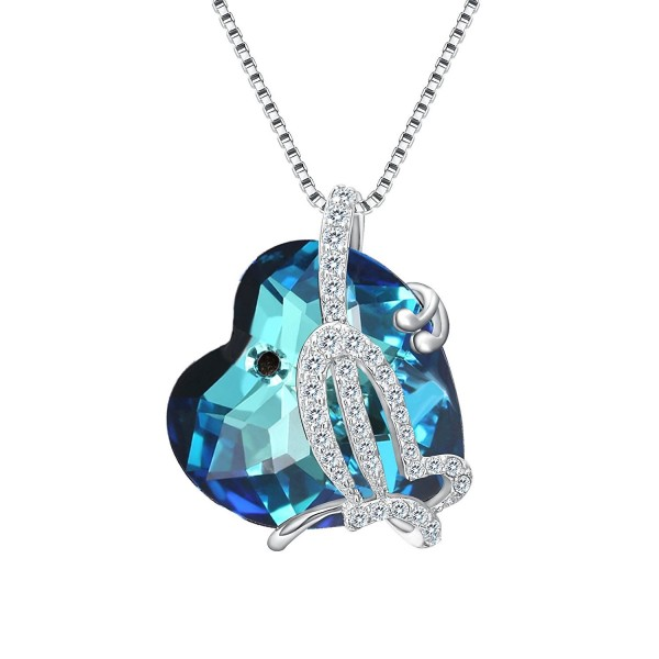 EleQueen Sterling Butterfly Necklace Swarovski - Bermuda Blue - CF182WE4Q3X