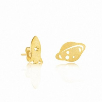 Silver Earrings Stainless Jewelry Spaceship - gold plated - CH12NH73WVY