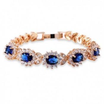GULICX Women's Gold Plated 5 Oval Cubic Zirconia Tennis Link Blue Bracelet Sapphire Color - CW12EQ6WXXH