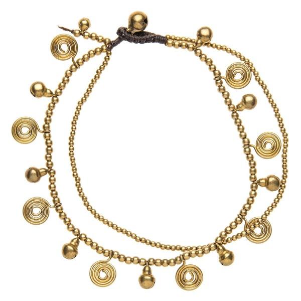 81stgeneration Women's Brass Gold Tone Spiral Bell Bead Ankle Anklet Bracelet- 28 cm - CB114ZE1LOD