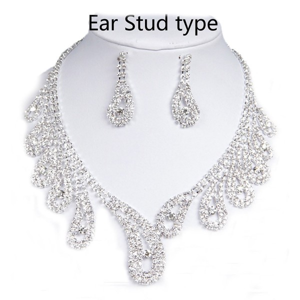 Belle House Sliver Rhinestones Necklace Earrings Jewelry Sets for Wedding Bridal Party BH15018 - 15042-Silver - CM184WEXWC7