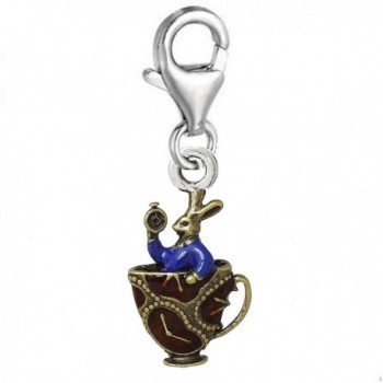 Rabbit in Tea Cup Clip on Pendant Charm for Bracelet or Necklace - CC125KZLH17