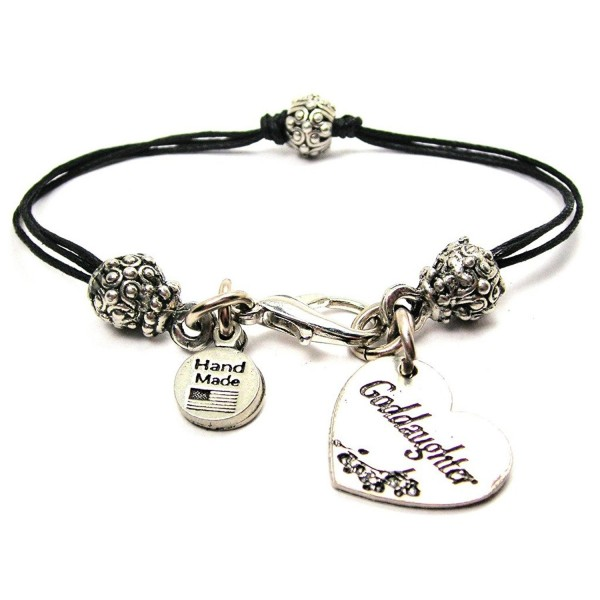 "ChubbyChicoCharms Goddaughter Heart- Pewter Beaded Black Waxed Cotton Cord Bracelet- 2.5"" - CP12JOO45Z5"