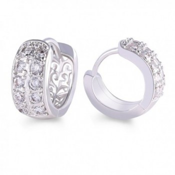 GULICX Gold Tone Eternity White CZ Clear Zircon Alluring Wome Party Hoop Earring for Christmas gift - CE11YUTUIF1