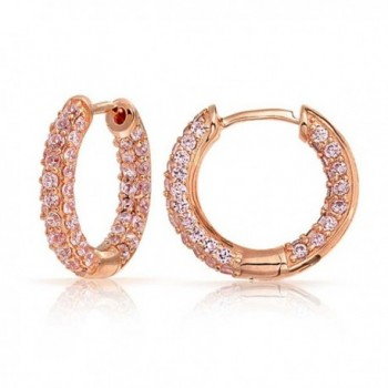 Bling Jewelry Pave Pink CZ Inside Out Rose Gold Plated Brass Hoop Earrings - CI11B9MU23Z