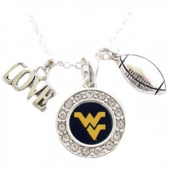 West Virginia Mountaineers Multi Charm Love Football Blue Silver Necklace Jewelry WVU - CU11PCVK6QR