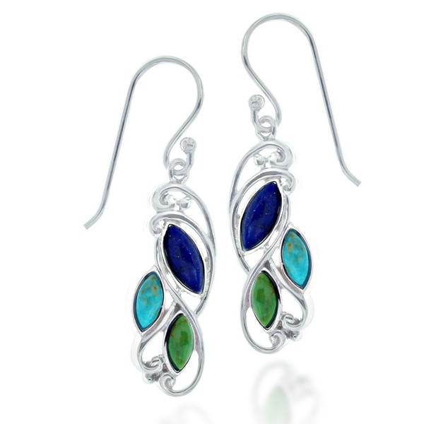 Rhodium Plated 925 Sterling Silver Triple Marquise Gemstone Dangle Earrings - Blue Stone - CN126ZLRH8H