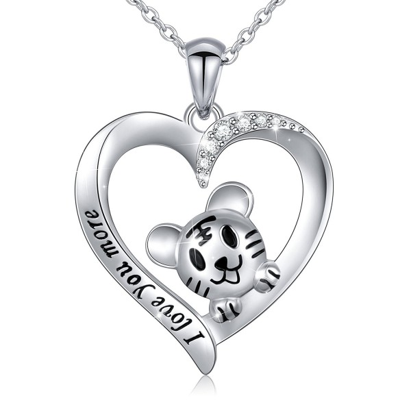 S925 Sterling Silver Cute Turtle/Tiger Heart Pendant Necklace for Women Girl 18'' - CV180286UGT