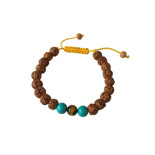 Tibetan Mala Rudraksha Wrist Mala Yoga Bracelet with Turquoise and Tiger Spacers - C5127IXIX1V