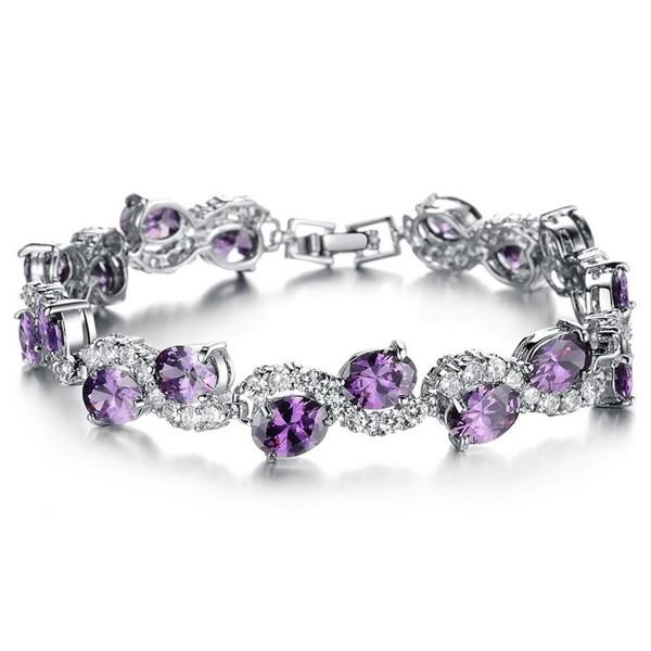 Jade Angel Women Platinum Plated Purple Cubic Zirconia Bracelet Wedding Jewelry - Purple - CY120JL1YS3