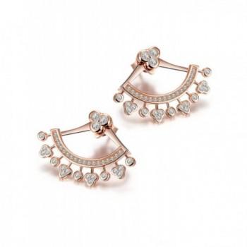 Wistic Sterling Silver Earrings Crystal Ear Cuff Earrings Ear Jacket for Women Girls - CV1270V7803