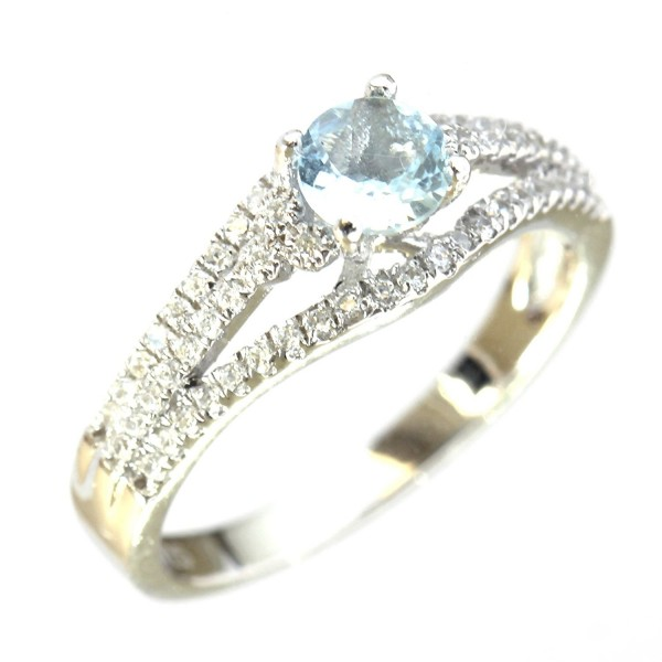 Sterling Silver Wrapped Natural Aquamarine Bridal Engagement Ring (0.45 CT.T.W) - CW11G6HQK9X