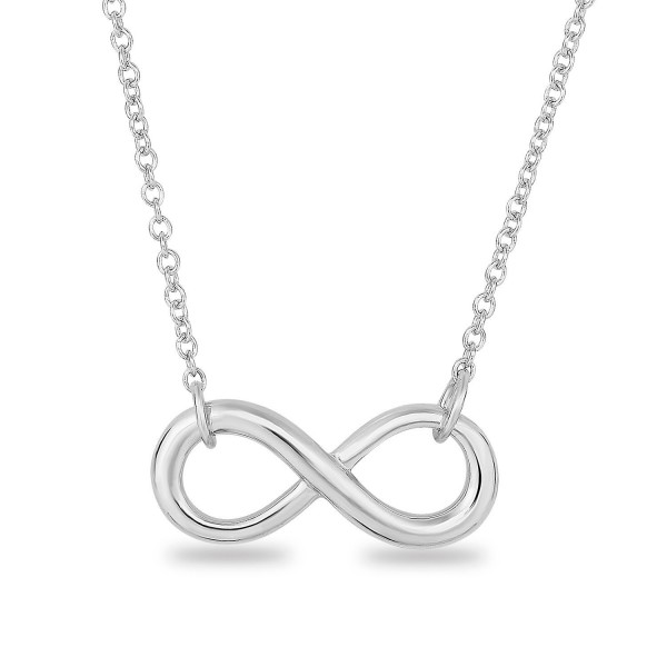 "Rhodium Plated Sterling Silver Plain Classic Infinity Symbol Chain Necklace-18"" - CZ11V9PLYSJ"