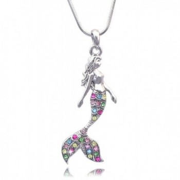 Fairytale Mermaid Pendant Necklace Jewelry - Multi-Color - CJ11WPO4GWJ