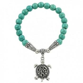 Falari Turtle Lucky Charm Natural Stone Bracelet Turquoise B0004-TQ - CC12BYHDNPN