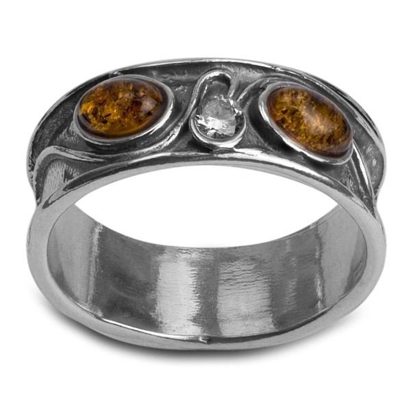 Sterling Silver Amber and Crystal Oval Band Ring - CZ11LGRH3HB