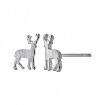 Boma Sterling Silver Matte Deer Stud Earrings - C312BXADK8Z