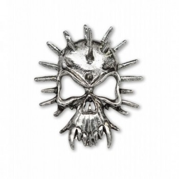 Gothic Spiked Skull with Fangs Jacket or Hat Pin Antique Silver Finish Pewter - CP12BLKAJ09