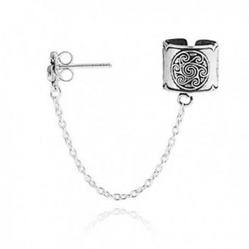 Celtic Spiral Sun Chain One Piece Sterling Silver Ear Cuff - C511EPIY1U5