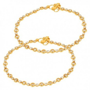 Gold plated Rhinestone Crystal Ghungroo Design Thin Payal Anklets For Women Girls India Bollywood - CA17Z25KCCK