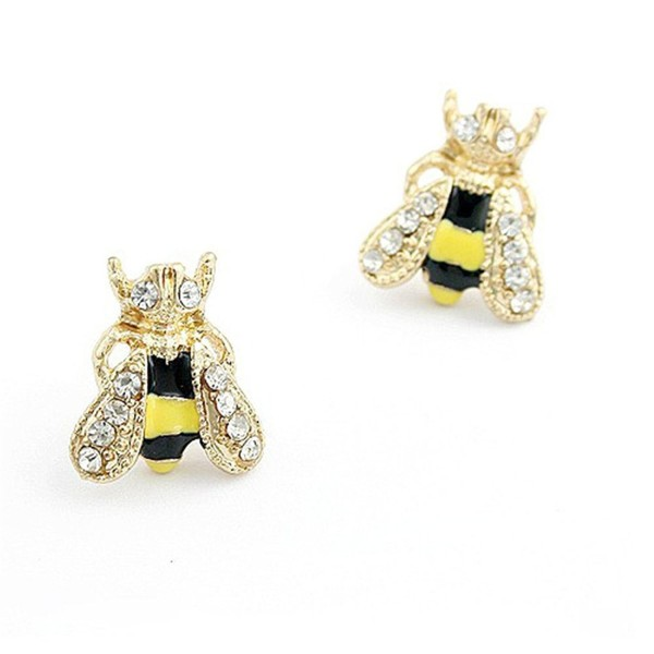 Topro Lovely Jewelry Crystal Rhinestone Gold Bee Earrings Animal Ear Studs - CX11X9VZGXP