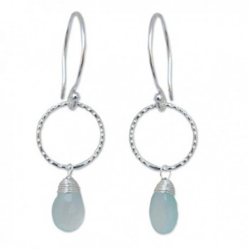 NOVICA .925 Sterling Silver and Chalcedony Gemstone Dangle Earrings- 'Mystic Solo' - C2112KLSLM3