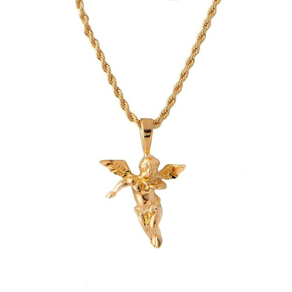 Yellow Gold Tone Cherub Guardian Angel and Rope Chain Necklace - CF11L7MYPHV