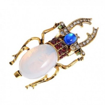 Alilang Antique Gold Tone Egyptian Vintage Pincher Scarab Beetle Bug Brooch Pin - C8113T2GM5F
