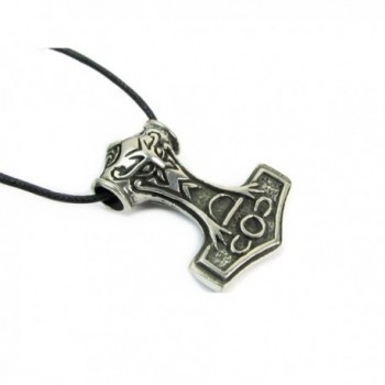 Thor's Hammer Pewter Pendant on Cord Necklace- The Norse Collection - CB1157A5F3V