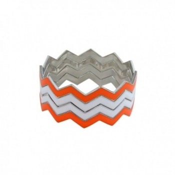 ZigZag Bangles Chevron Design Bracelets - Orange and White - C611GDYYUUZ