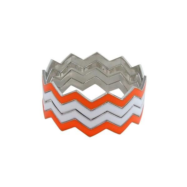 ZigZag Bangles Chevron Design Bracelets - Orange and White - C611GDYYUUZ