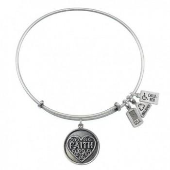 Wind and Fire Faith Charm Bangle Bracelet (Antique Silvertone Finish) - CR11WT72RI7