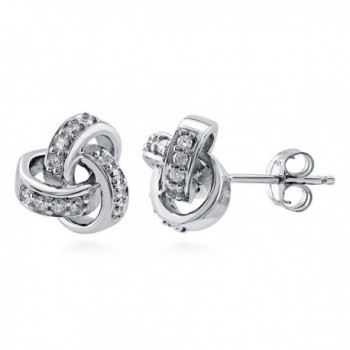 BERRICLE Rhodium Plated Sterling Silver Cubic Zirconia CZ Love Knot Stud Earrings - C9113OXKCJL