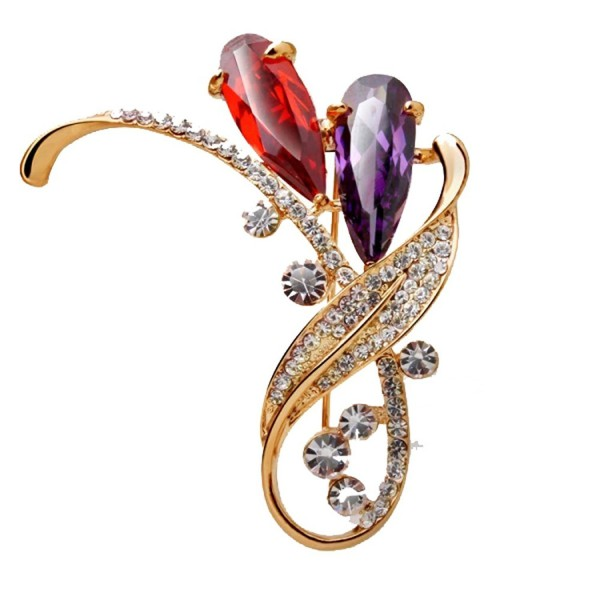 Lily Crystal CZ Flower Brooch Flower Wedding Bouquet Brooch for women - CN17YXSAHUG