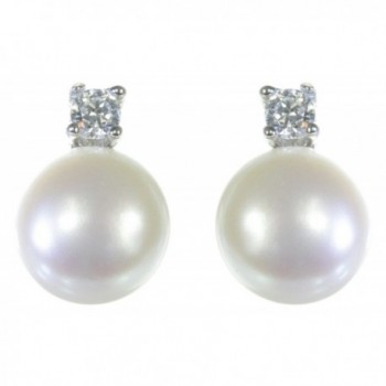 Classical 925 Sterling Silver 7.0mm Freshwater Cultured Pearl Women Stud Earrings with Cubic Zirconia/CZ - CX11HPH7LY1