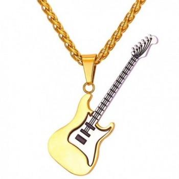 U7 Men Women Music Jewelry R&B Rock Electric Guitar Bass Pendant Necklace - CM12GQFLZPN