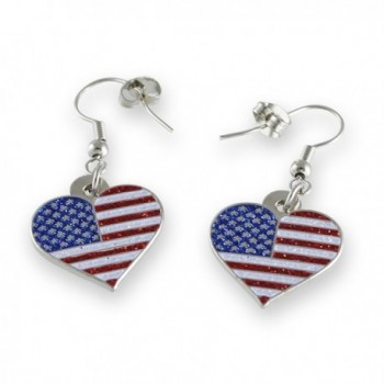 American Flag Patriotic Heart Glitter Earrings - C917Y04663X