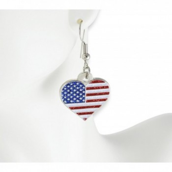 American Patriotic Heart Glitter Earrings