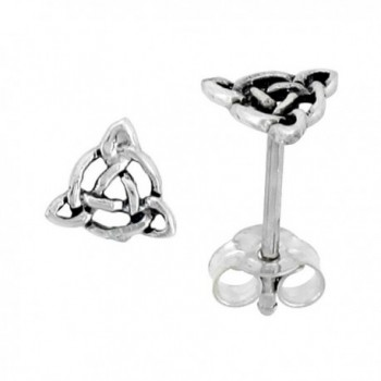 Sterling Silver Triquetra Celtic Knot Stud Earrings- 1/4 inch - C0111VPK6WR