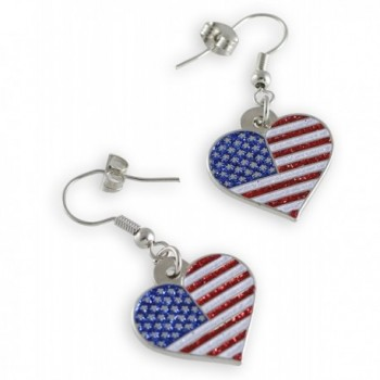 American Patriotic Heart Glitter Earrings in Women's Drop & Dangle Earrings