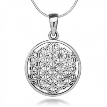 925 Sterling Silver Flower of Life Mandala 22 mm Circle Round Charm Pendant Necklace- 18 inches - CH11W4HEYNX