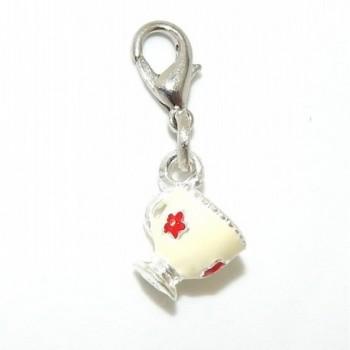 "Pro Jewelry Dangling ""Enamel Painted Coffee Mug"" Clip-on Bead for Chain Link Charm Bracelet 25419 - CX11P4EN4Q1"