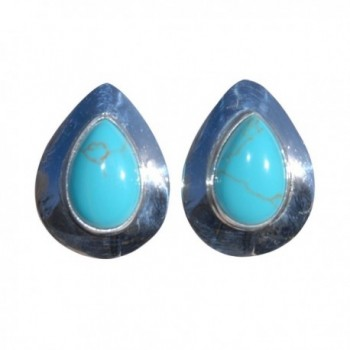 Tear Drop Sterling Silver Navajo Turquoise Stone Stud Earrings Handcrafted Indian Jewelry New Mexico - C71201Z5H2B